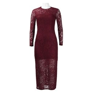 Illusion Long Sleeve Lace Midi Dress (771725/Burg)